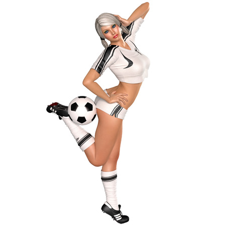 charmed: Cute young girl in soccer uniform with ball 3D render illustration on isolated white background