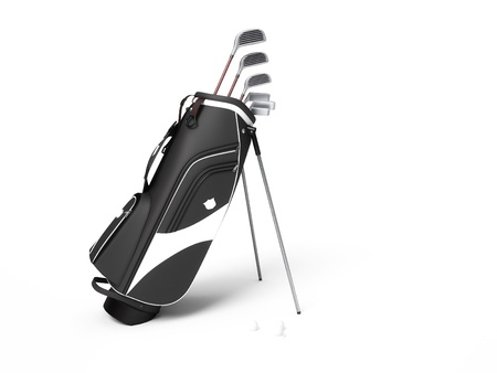 Golf clubs bag isolated on a white background photo