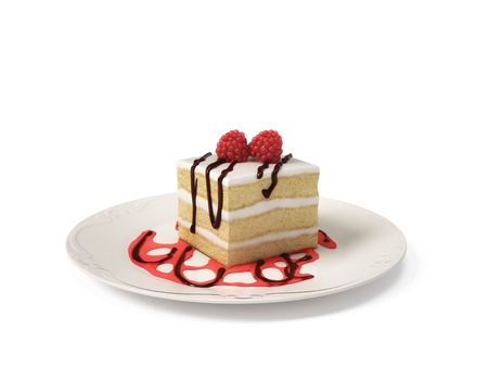 to cake layer: Strato della torta di lamponi isolato su sfondo bianco Archivio Fotografico