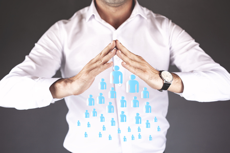 business man hand team people in screen Reklamní fotografie