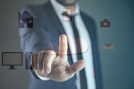 business man touching in network in screen Reklamní fotografie