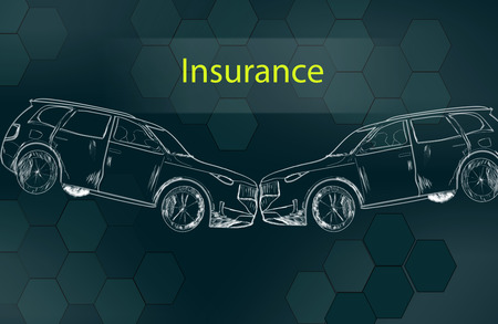 insurance with two car in the screen Reklamní fotografie