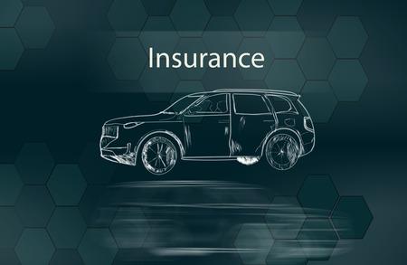 insurance with modern car in the screen Reklamní fotografie