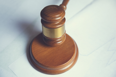 wooden judge on the white table background Reklamní fotografie