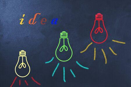 idea text with color bulb on calkboard