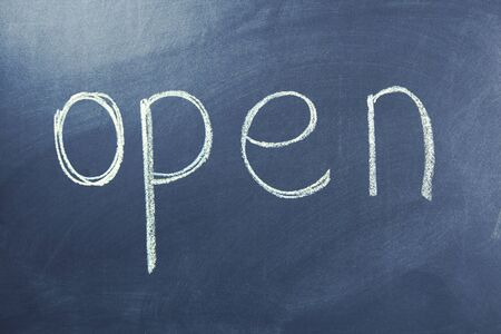 open text on the black chalk board