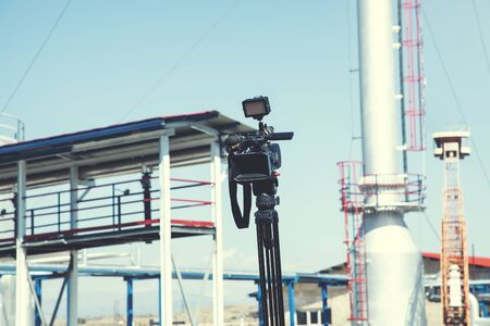 video camera in street under sky background Stock Photo