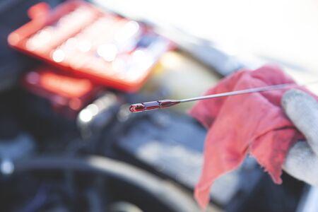 car maintenance, check the engine oil level