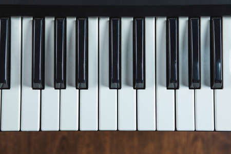 electronic piano keyboard keys closeup in black and white Stock fotó