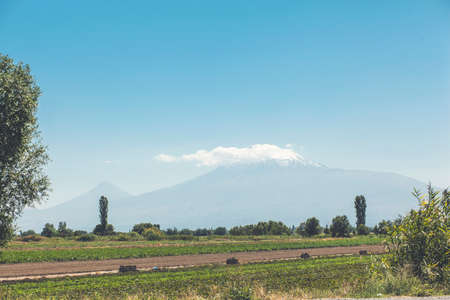 Beautiful view. Ararat mountains from Armenia Фото со стока