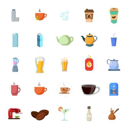 drinks flat icon set, with beer, coffee, milk box, soda, energy drink, cup of coffee, kettle, tea Vektoros illusztráció
