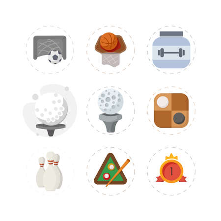 Sport flat icon set with golf ball, billiards, bowling, checkers, protein can, first place medal, soccer goal