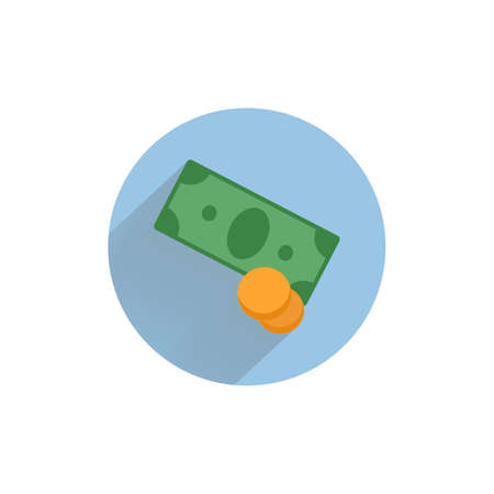 money pile. Stacked packs of dollar bills and gold coins colorful flat icon with long shadow. money flat icon