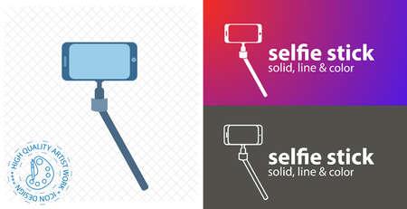 Selfie stick flat icon. line icon