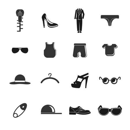 clothing icon set with dress, shoes, fashion elements, woman heel
