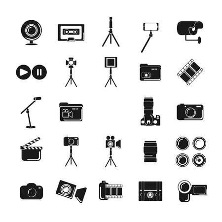 camera, digital camera, tripod, camera lens icon. Multimedia icon set