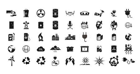 Eco icon set with chemical waste, nuclear pollution, battery, global warming, factory, alternative energy, energy saving bulb