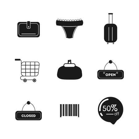 shopping icon set, 50% discounts.shopping card, wallet, purse, closed, open