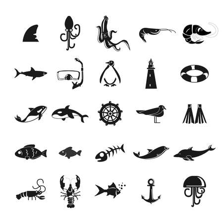 sea icon set with sea animals, shark, scuba mask, shrimp. fish, ship, crayfish, dolphin, whale, killer whale, jelly fish