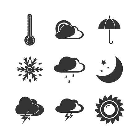 Weather forecast icon set with sun, rain, clouds, sun, snow Ilustración de vector