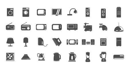 Set of household appliances icons. home appliances icon set with TV, fridge, kitchen appliances