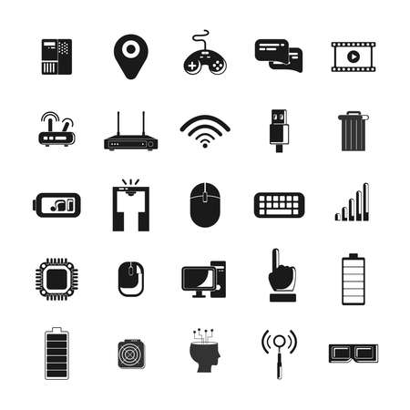 technology icon with 3d glasses, mobile network, computer, battery, wifi router, CPU, mouse
