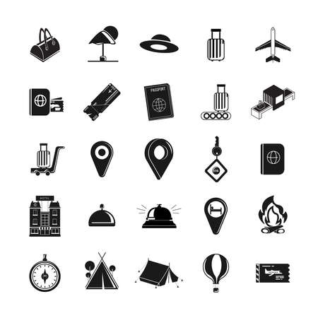 Traveling and transport icon set with hotel, compass, maps, reception call, plane ticket, boarding pass, camping tent, hot air balloon