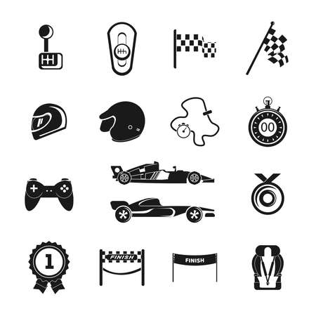 Auto sport grand prix racing icon set with bolide trophy helmet isolated vector illustration Illustration