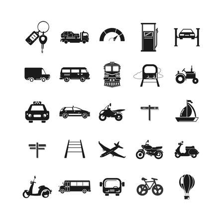 transport icon set with car, bus, plane, ship, motorcycle, taxi car Ilustracja