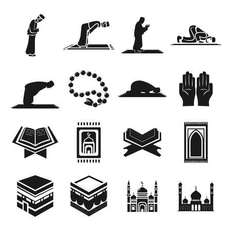 Muslim islam prayer icon set with mosque, koran, hadj, kaaba, carpet