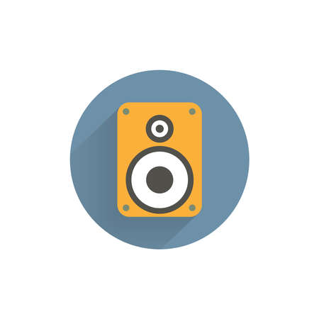 audio speaker colorful flat icon with long shadow. speaker flat icon