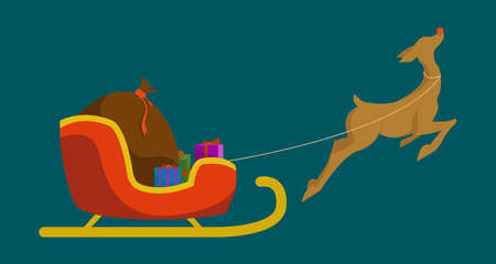 Christmas deer with santa sleigh and gift bag isolated vector flat illustration. design element