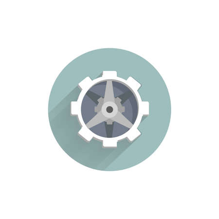 gear icon. mechanism colorful flat icon with long shadow. mechanism flat icon 矢量图像