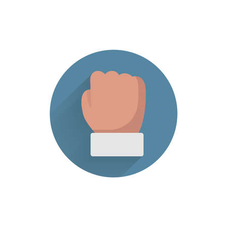 Fist colorful flat icon with long shadow. Fist flat icon 向量圖像
