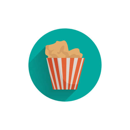 popcorn colorful flat icon with shadow. popcorn flat icon