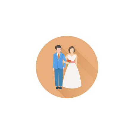 Wedding Married couple colorful vector flat icon