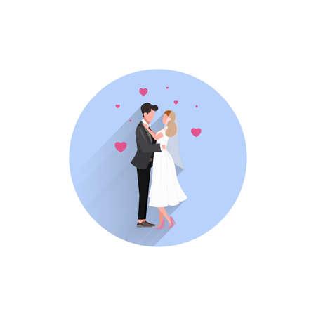 Wedding Married couple colorful flat icon with long shadow. Wedding flat icon Ilustração