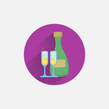 champagne colorful flat icon with shadow. champagne flat icon Çizim
