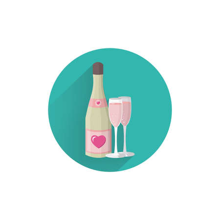 champagne colorful flat icon with long shadow. champagne flat icon Çizim