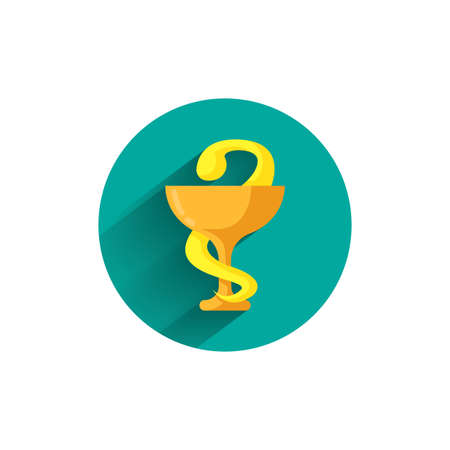 Pharmacy symbol colorful flat icon with shadow. medical sign of snake