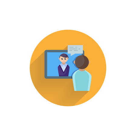 video conference, online meeting. online interview colorful flat icon with long shadow. online education flat icon