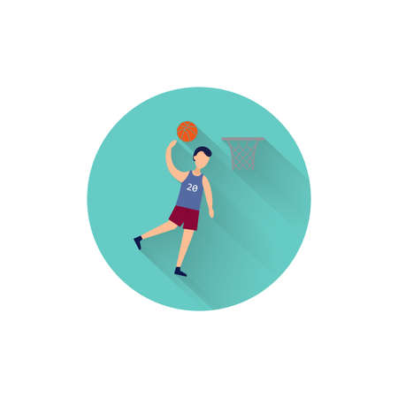 basketball player scores a ball colorful flat icon with long shadow. basketball flat icon