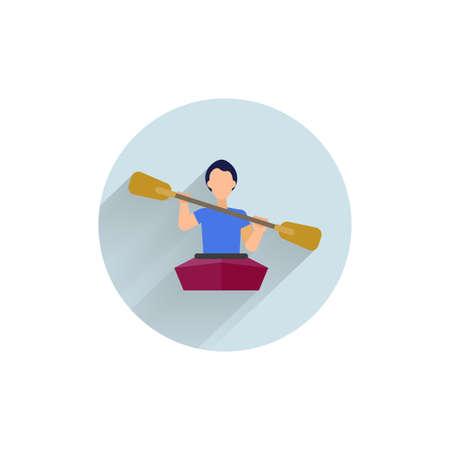 Kayaking colorful flat icon with long shadow. Kayaking uit flat icon