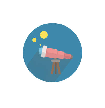 telescope colorful flat icon with shadow. telescope flat icon