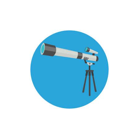 telescope colorful flat icon with long shadow. telescope flat icon