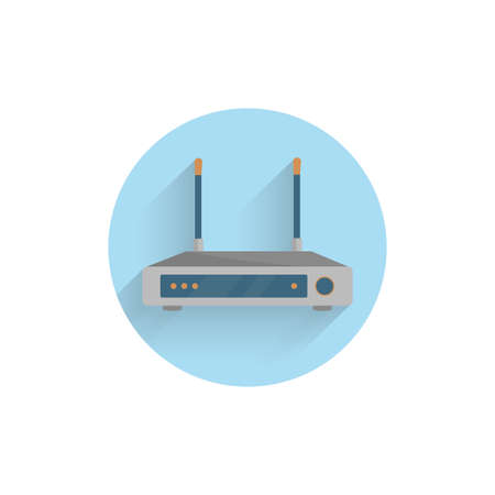WiFi router colorful flat icon with long shadow. WiFi router flat icon
