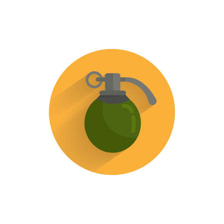 hand grenade colorful flat icon with long shadow. army grenade flat icon