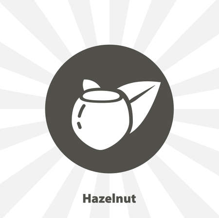 hazelnuts with leaves isolated vector icon. fruit design element