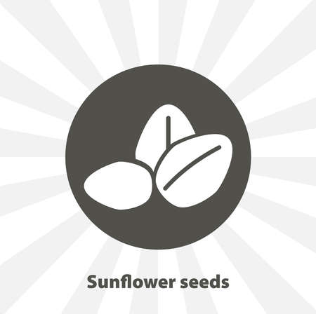 Ripe sunflower seed isolated vector icon. fruit design element