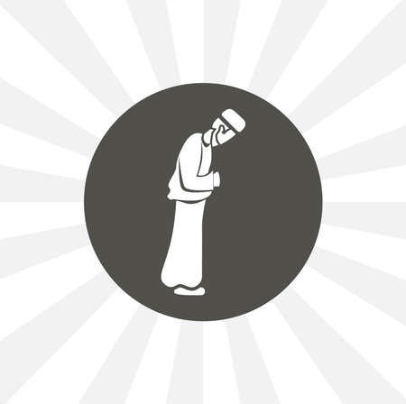 Muslim man prays. namaz isolated vector icon. islam design element 일러스트